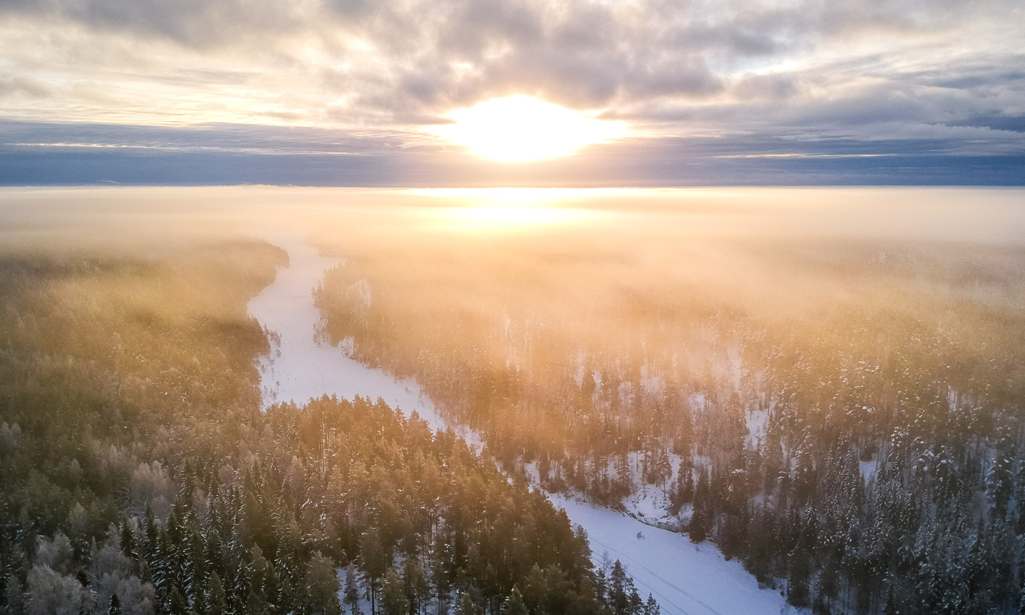 Nuuksio National Park in winter. Stunning winter view over Nuuksio National Park from a drone. Finnish nature near Helsinki, Finland.