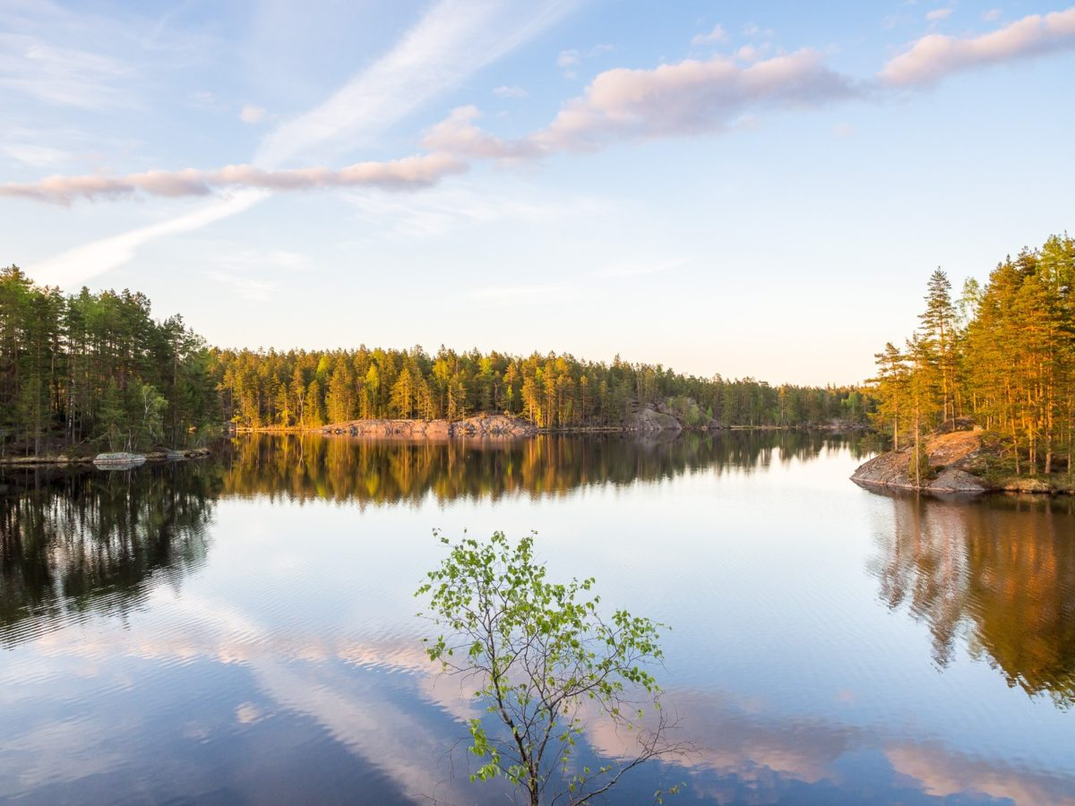 Nuuksio National Park in spring. Long days in May and the beauty of calm lakes, after everything being frozen in winter. Nature near Helsinki, Finland.