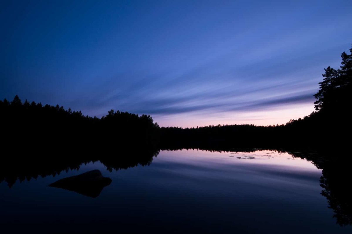 Nuuksio National Park in summer. Summer's end in August, when the nights start to get dark again. Nature near Helsinki, Finland.